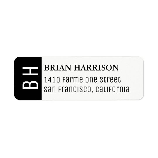 modern address label with name and initials