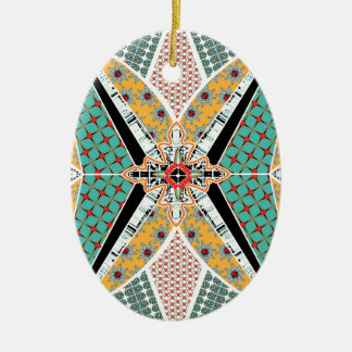 Modern Africa Centre Vibrant Pattern Ceramic Ornament