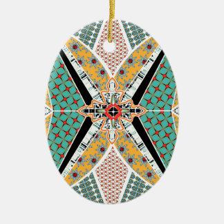 Modern Africa Centre Vibrant Pattern Ceramic Oval Ornament