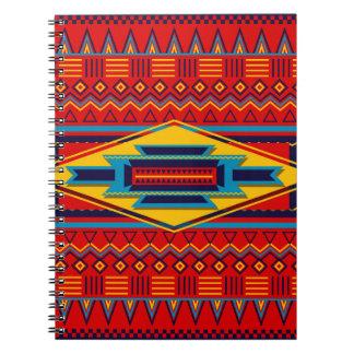 Modern African Art Gods Eye Pattern Red Yellow Notebooks