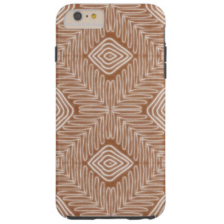 Modern African Tribal Brown Leather Look Tough iPhone 6 Plus Case