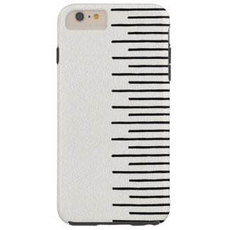 Modern African Tribal Lines White Leather Look Tough iPhone 6 Plus Case