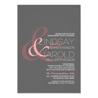 "modern ampersand engagement party 5"" x 7"" invitation card"