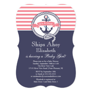 "Modern Anchor Nautical Sailboat Girl Baby Shower 5"" X 7"" Invitation Card"
