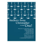 Modern Anchors Away Boy 1st Birthday Party Personalized Invites