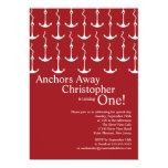Modern Anchors Away Boy 1st Birthday Party Custom Invitation