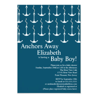 "Modern Anchors Away Nautical Baby Shower 5"" X 7"" Invitation Card"