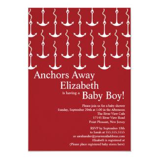 Modern Anchors Away Nautical Baby Shower Card