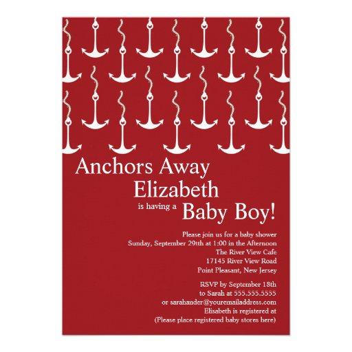 Modern Anchors Away Nautical Baby Shower Custom Invites