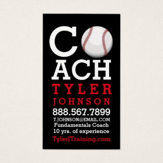 Modern and Bold Baseball Coach Business Card