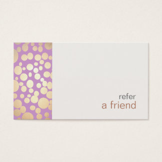 Modern and Hip Gold  Refer A Friend Coupon Salon Business Card