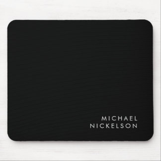 Modern and Minimal Black and White | Add your Name Mouse Pad