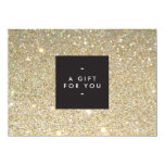 "MODERN and SIMPLE BLACK BOX GOLD GLITTER Gift Cert 4.5"" X 6.25"" Invitation Card"
