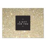 "MODERN and SIMPLE BLACK BOX GOLD GLITTER Gift Cert 4.5"" X 6.25"" Invitation Card"