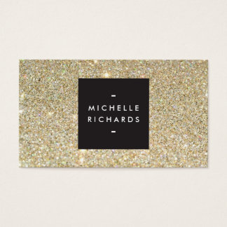 MODERN and SIMPLE BLACK BOX on GOLD GLITTER Business Card