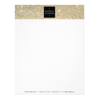 MODERN and SIMPLE BLACK BOX on GOLD GLITTER Letterhead