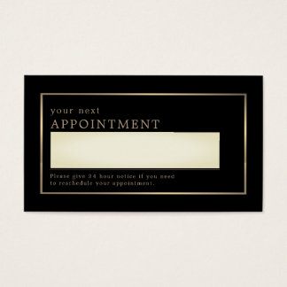 Modern and Sleek, Black and Gold, Appointment Business Card