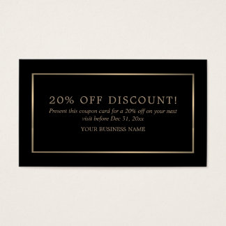 Modern and Sleek, Black and Gold, Coupon Voucher Business Card