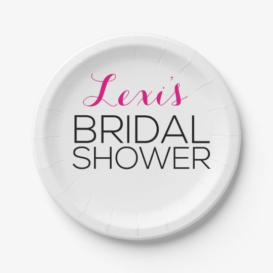 Modern and Sleek Bridal Shower Plates 7 Inch Paper Plate
