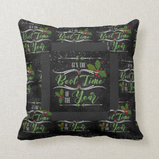 Modern and Trendy Holiday Chalkboard Typography Throw Pillow