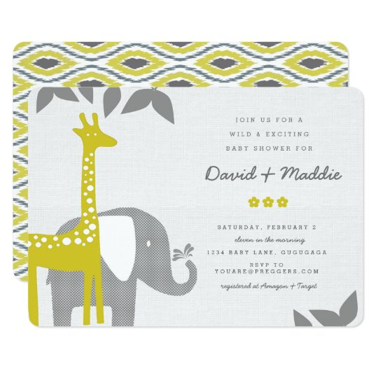 Modern Animal Safari Baby Shower Invitation