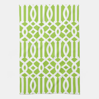 Modern Apple Green and White Trellis Pattern Kitchen Towel