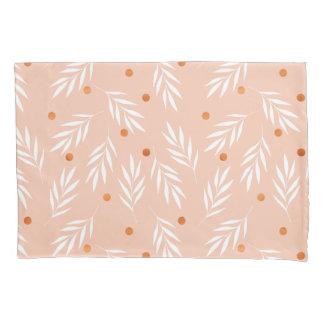 Modern Apricot Pink Floral Leaves Pattern Pillowcase