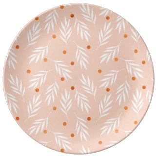Modern Apricot Pink Floral Leaves Pattern Plate