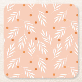 Modern Apricot Pink Floral Leaves Pattern Square Paper Coaster