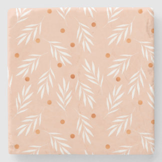 Modern Apricot Pink Floral Leaves Pattern Stone Coaster