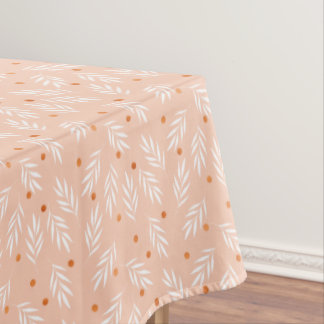 Modern Apricot Pink Floral Leaves Pattern Tablecloth