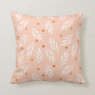 Modern Apricot Pink Floral Leaves Pattern Throw Pillow