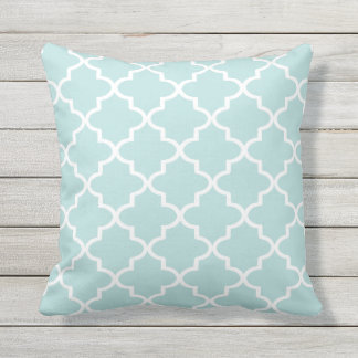 Modern Aqua and White Moroccan Quatrefoil Outdoor Pillow