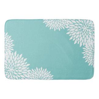 Modern Aqua Blue and White Floral Bath Mat