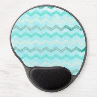 Modern Aqua Blue Chevron Pattern Gel Mouse Pad