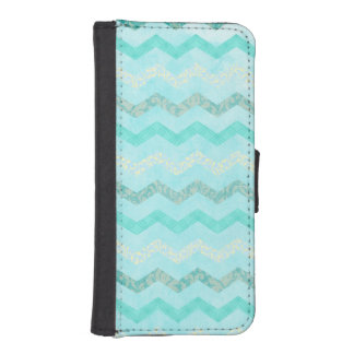Modern Aqua Blue Chevron Wallet Case iPhone 5 5S iPhone 5 Wallet Case