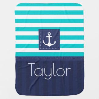 Modern Aqua Blue Navy Anchor Design Custom Baby Blanket