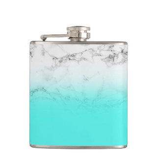 Modern aqua blue ombre gradient white marble hip flask