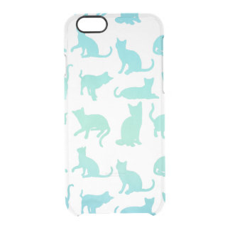 Modern Aqua Cats Pattern Clear iPhone 6/6s Case