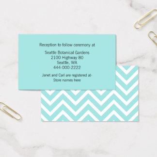 Modern Aqua Chevron Wedding Information Card