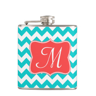 Modern Aqua Coral Chevron Monogram Whiskey Flask