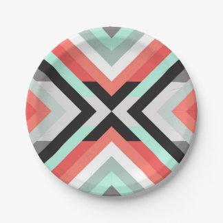 Modern Aqua Coral Geometric Color Block Design 7 Inch Paper Plate