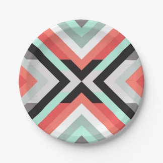 Modern Aqua Coral Geometric Color Block Design Paper Plate