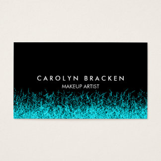 Modern Aqua Fire Black Business Card