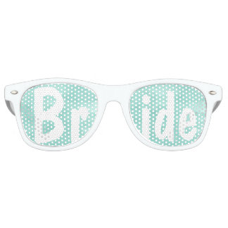Modern aqua green watercolor wedding Bride Party Sunglasses