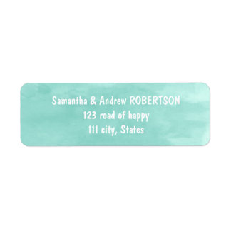 Modern aqua green watercolor wedding return address label