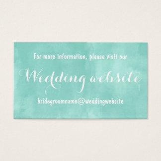 Modern aqua green watercolor wedding website business card