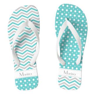 Modern aqua, grey, white chevron & polka dot flip flops