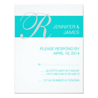 "Modern Aqua Monogram Names Wedding RSVP Cards 4.25"" X 5.5"" Invitation Card"