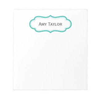 Modern Aqua Personalized Notepad